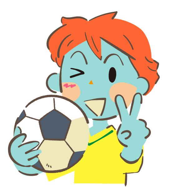 サッカーボールを持ってvサインする男の子 ゴゴンのイラスト
