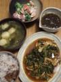 舞茸とほうれん草のケチャップ炒め煮