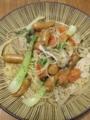 [パスタ]チンゲン菜とプチトマトと舞茸のスープパスタ