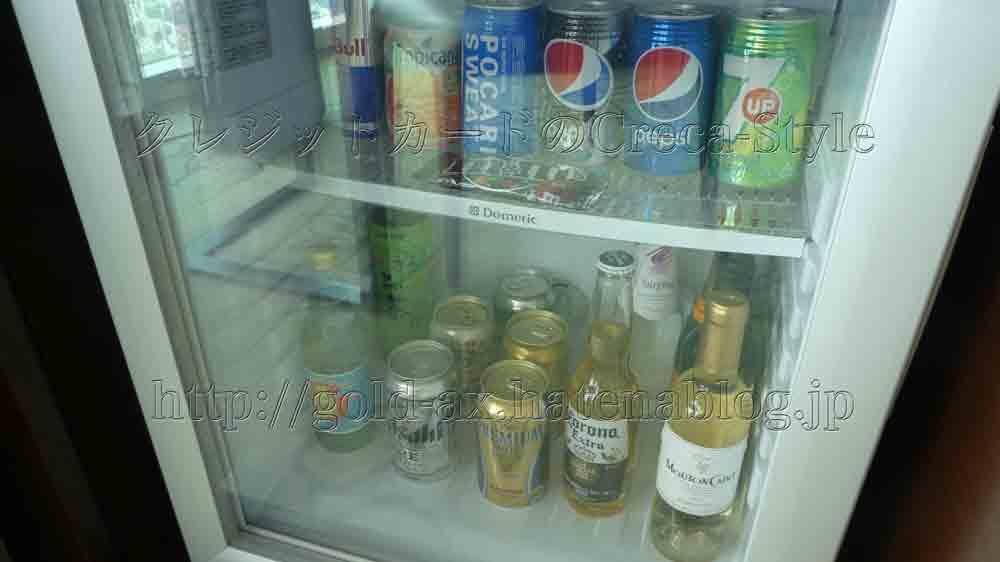 大阪マリオット都ホテルのクラブ スーペリアルームのミニバー(冷蔵庫)