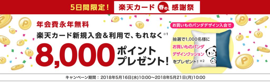楽天カード 8000ポイントキャンペーン