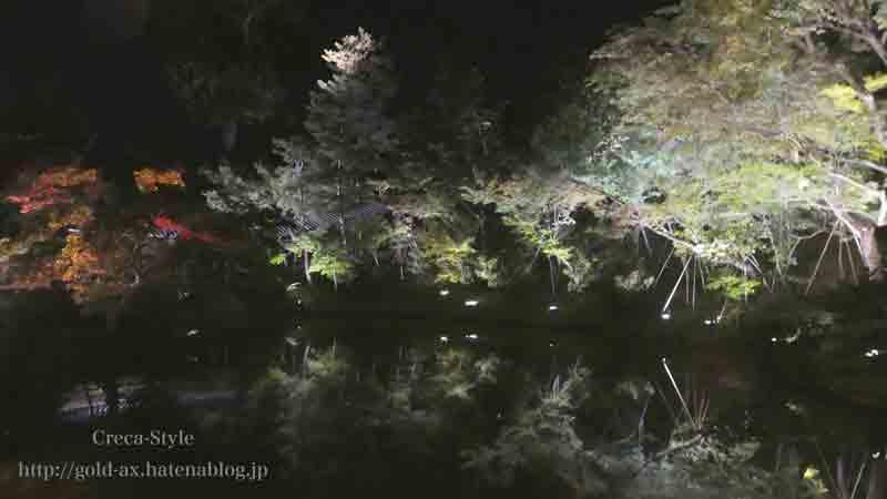 高台寺のライトアップで池に反射する木々が幻想的です