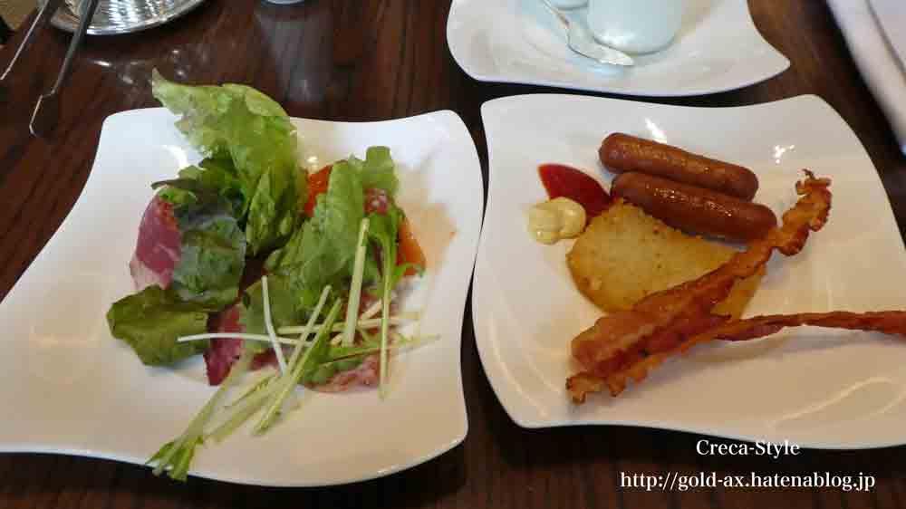 セントレジスホテル大阪の「ルドール」で朝食 ブッフェ サラダとウィンナーやハム