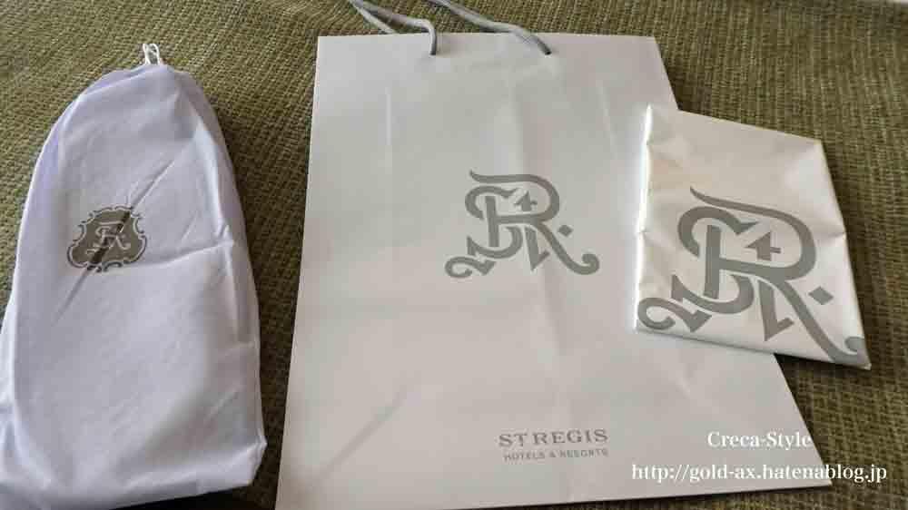 セントレジスホテル大阪のスリッパ、ランドリー袋など