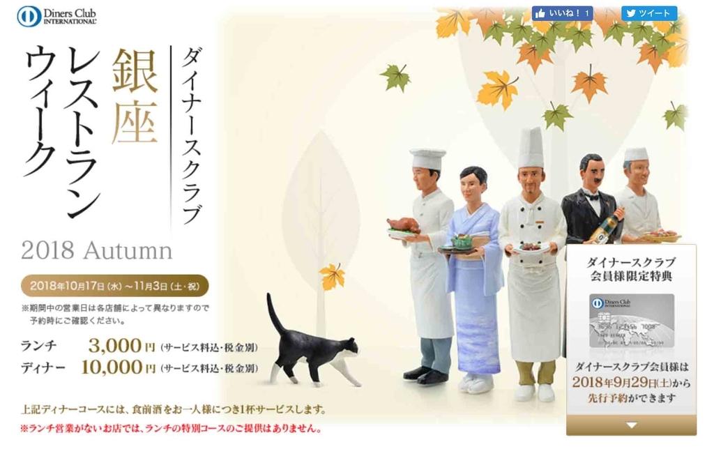 ダイナースクラブ銀座レストランウィーク2018 Autumn