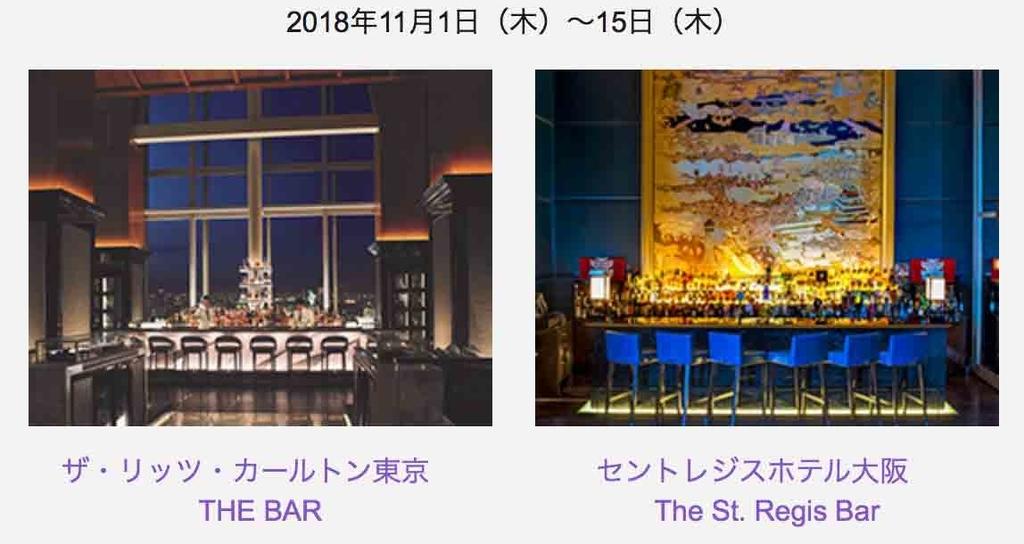 SPGアメックス オリジナルカクテルアワー ザリッツカールトン東京、セントレジス ホテル大阪