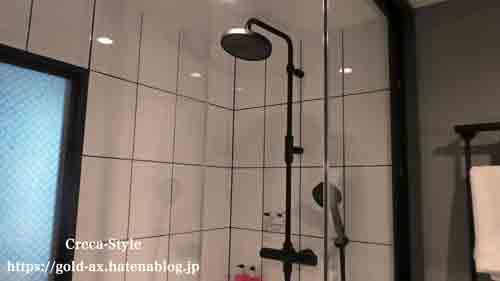モクシーホテル大阪本町 宿泊記 バスルーム レインシャワー