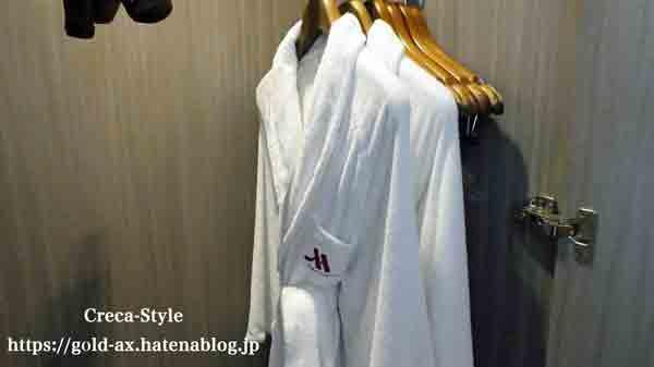 東京マリオットホテルの客室 バスローブ