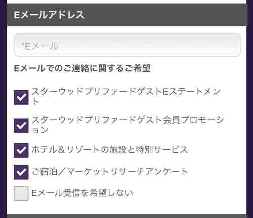 SPGアメックス入会キャンペーン 申込書の記入方法 Eメールアドレス