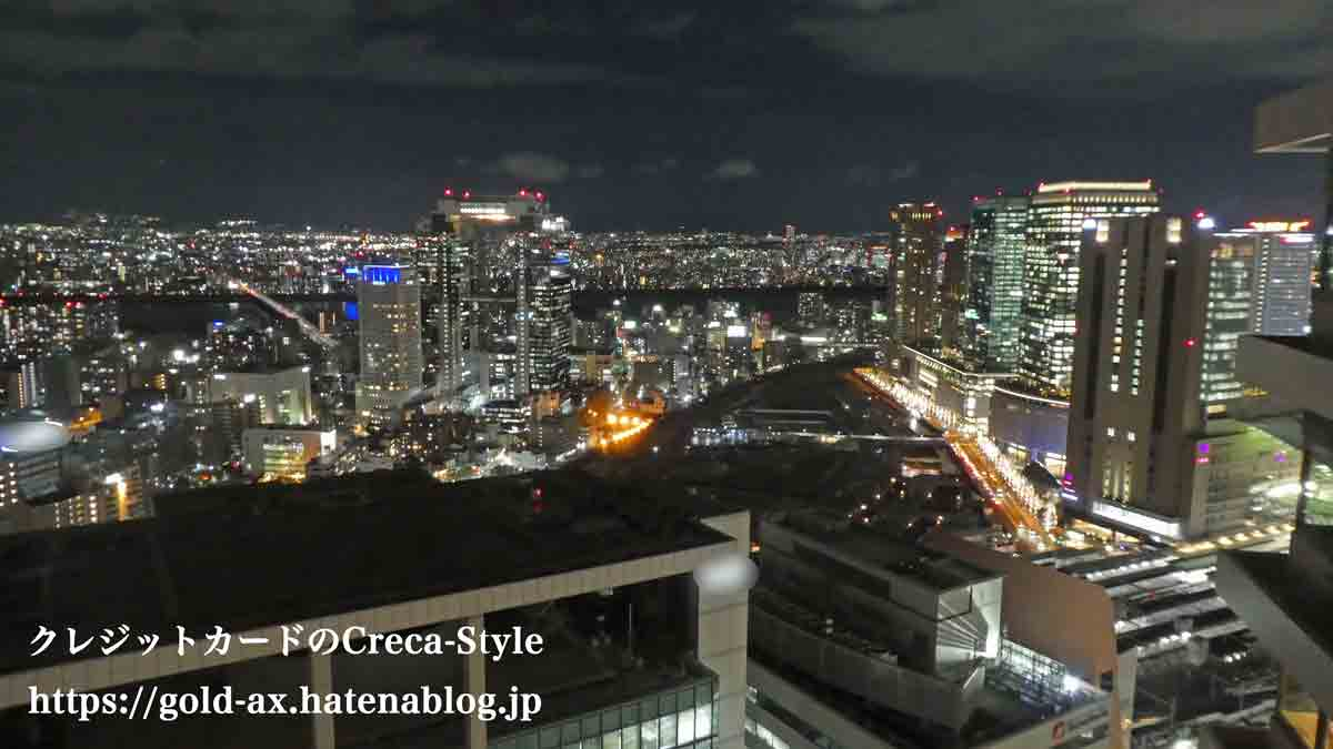 SPGアメックス無料宿泊 ザ・リッツ・カールトン大阪 宿泊記 ジュニアスイートからの夜景