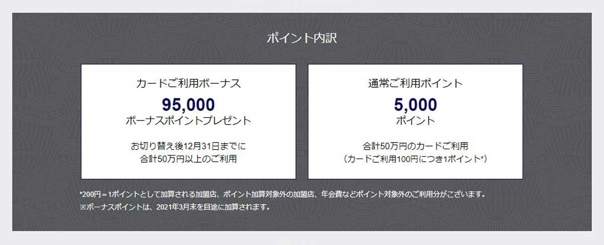 アメックスプラチナ切り替えキャンペーンで合計100,000ポイントもらえる