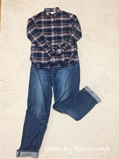 無印良品のブロードシャツ着回し例1