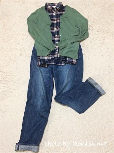 無印良品 オーガニックコットンフランネルチェックシャツ コーディネイト