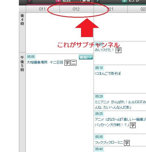 NHK番組表 サブチャンネル