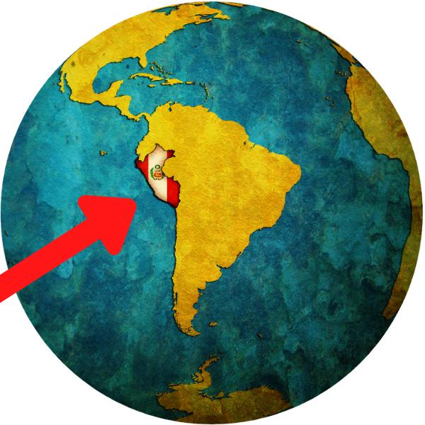 世界地図上のペルー