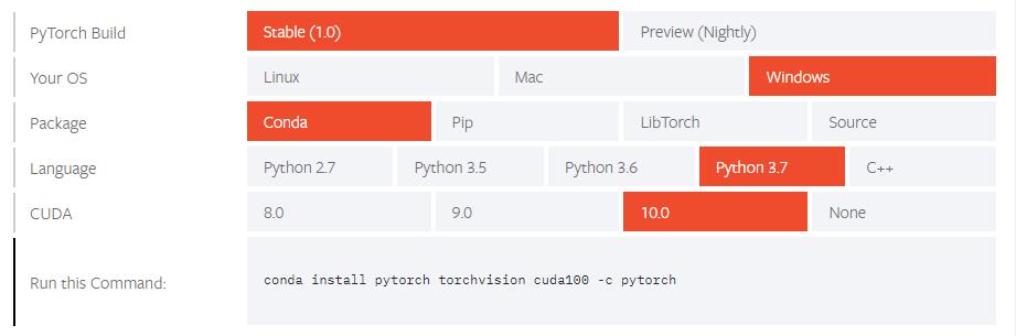 PyTorchをダウンロード