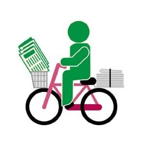 自転車で新聞配達