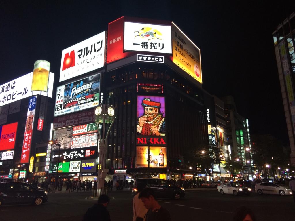札幌市に到着すっかり夜の街に