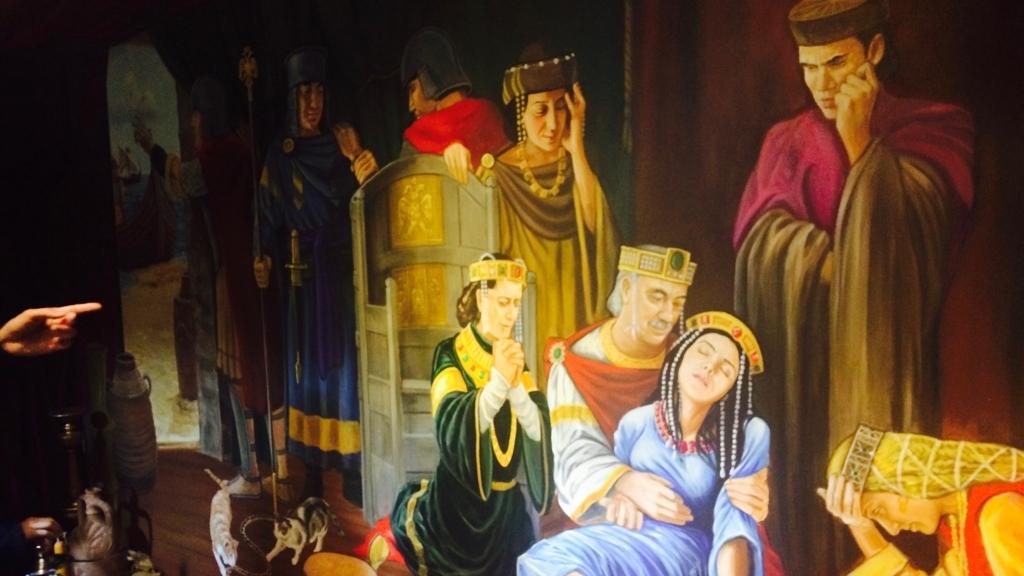 乙女の塔の悲しい物語の壁画
