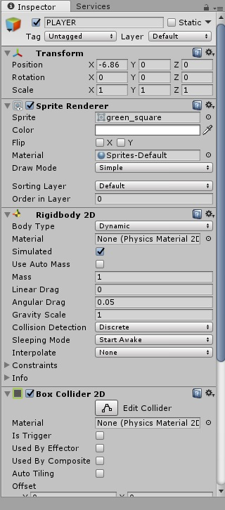 PLAYERにRigidbody 2Dを追加する