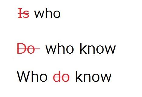 whoが主語の疑問文の間違えの例