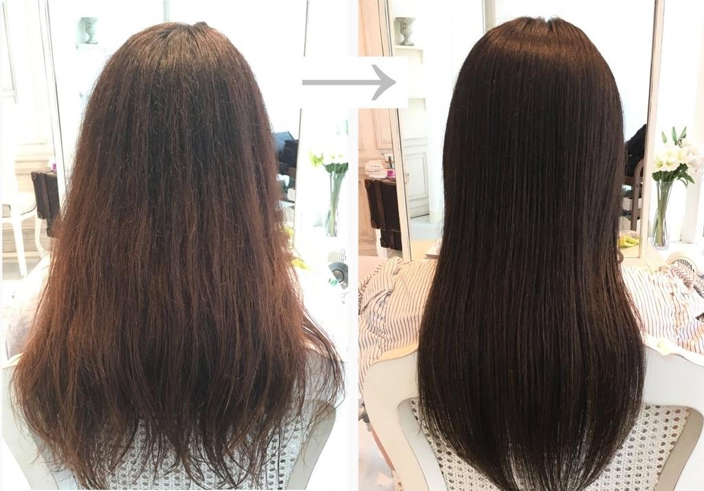 痛んだ髪と綺麗な髪の画像