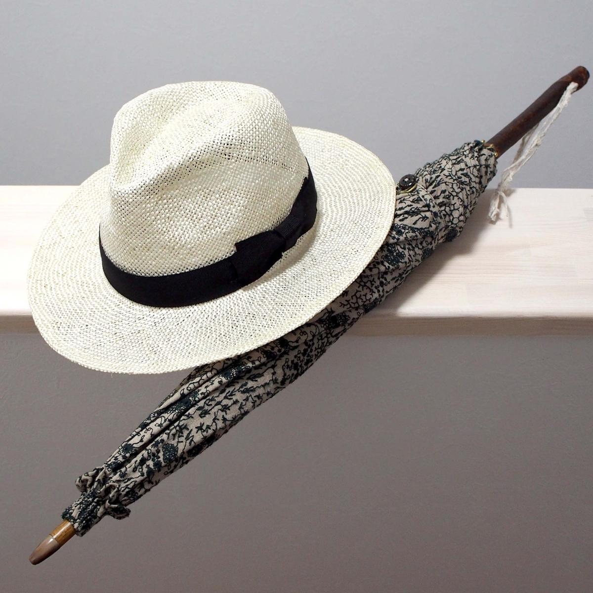 日傘と帽子の画像