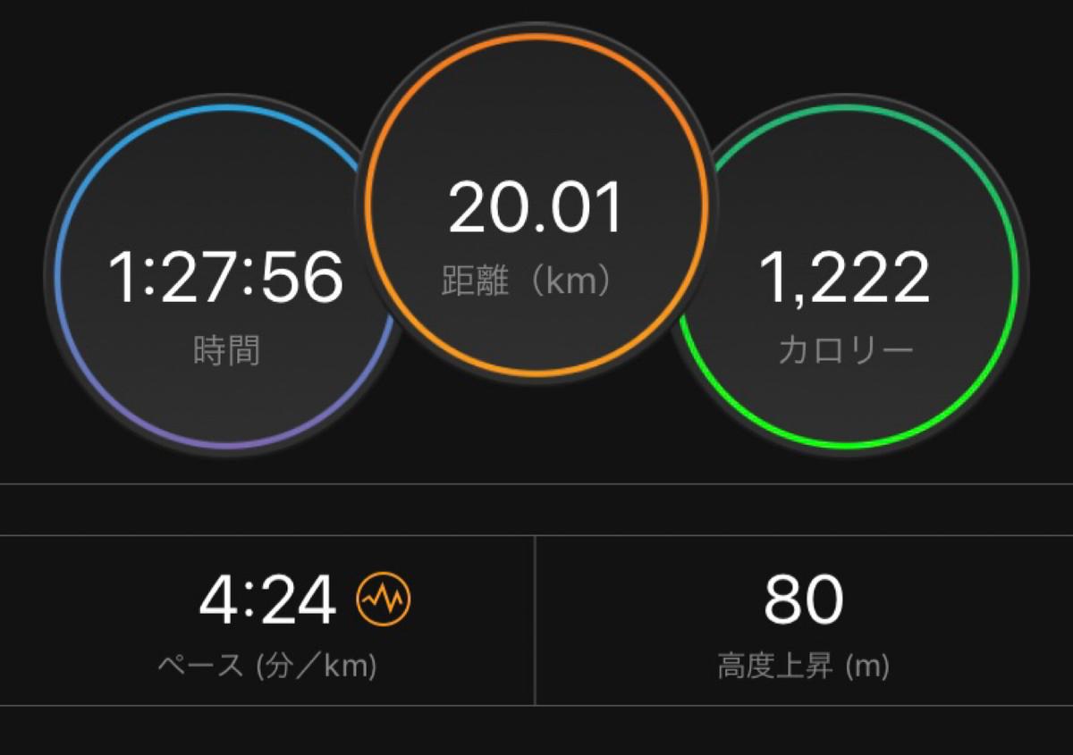 20キロ走の記録