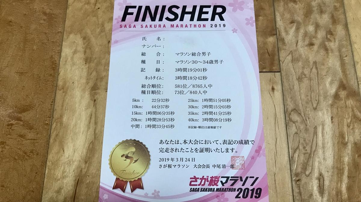 さが桜マラソン2019|完走証