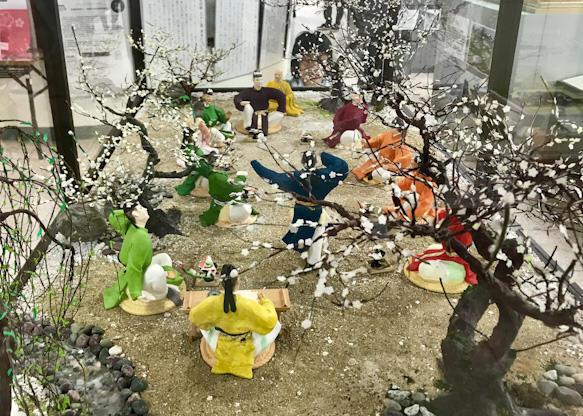 梅花の宴を再現したジオラマ