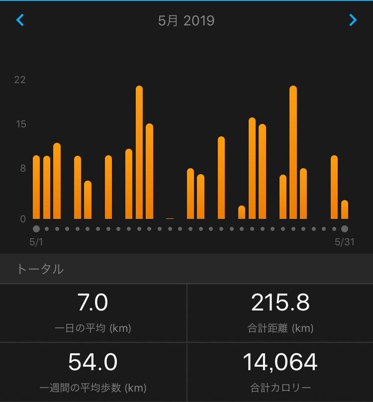 2019年5月の走行距離