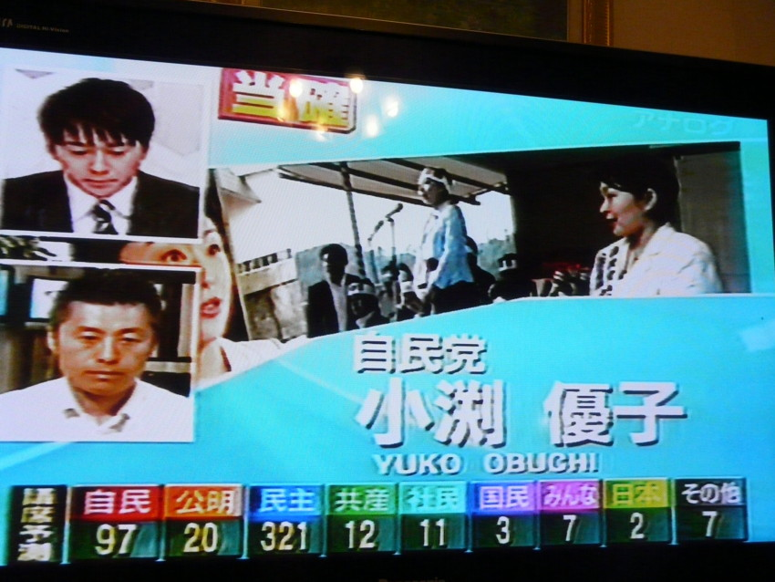 乱 総選挙で小渕優子さん当選確実