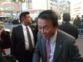 本八幡駅前で有権者と触れ合う麻生太郎元総理   taro aso