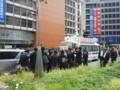 新宿で街頭演説後、ぶら下がり取材を受ける公明党・山口那津男代表