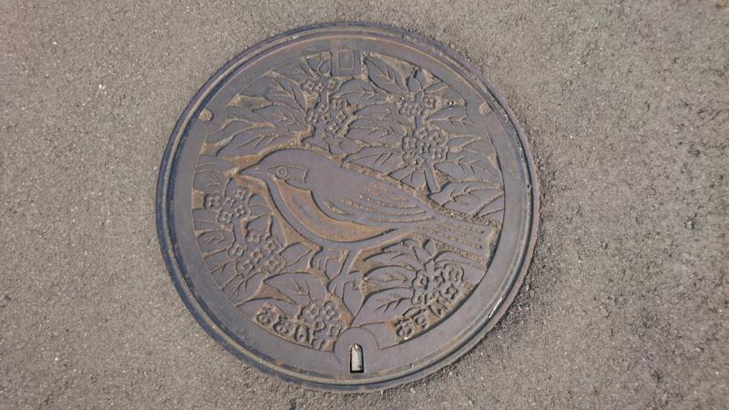 神奈川県足柄上郡大井町のマンホール(キンモクセイ、メジロ)