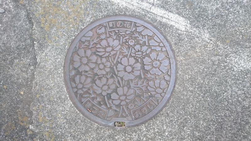 神奈川県足柄上郡松田町のマンホール(コスモス)
