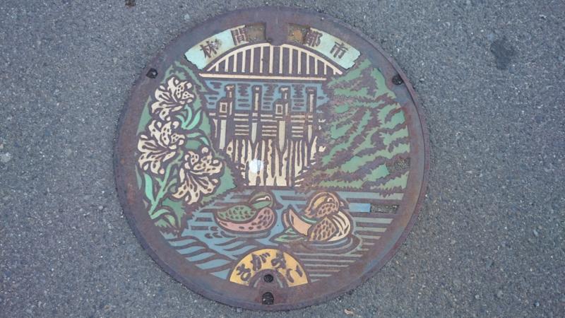 神奈川県相模原市のマンホール(旧相模湖町、相模ダム、カツラ、ヤマユリ、オシドリ)[カラー]