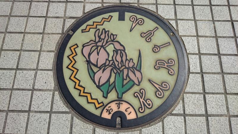 愛知県刈谷市のマンホール(カキツバタ)[カラー:緑