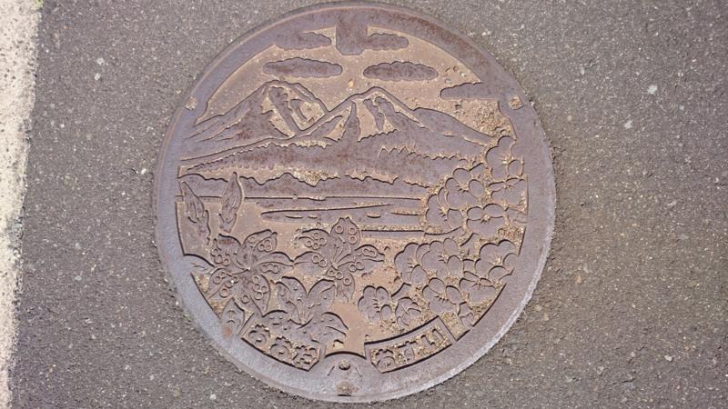 島根県大田市のマンホール(三瓶山、ウメ、レンゲツツジ)