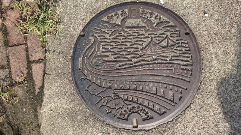 新潟県糸魚川市のマンホール(親不知海岸、カモメ)