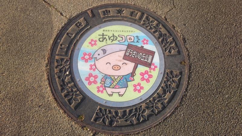 神奈川県厚木市のマンホール(あゆコロちゃん)[ぼうさいの丘公園]