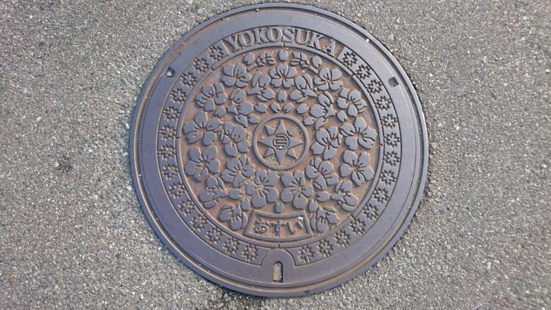 神奈川県横須賀市のマンホール(オオシマザクラ)