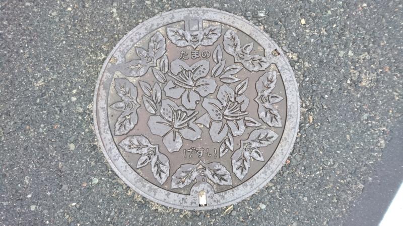 岡山県玉野市のマンホール(ツツジ、バベ)
