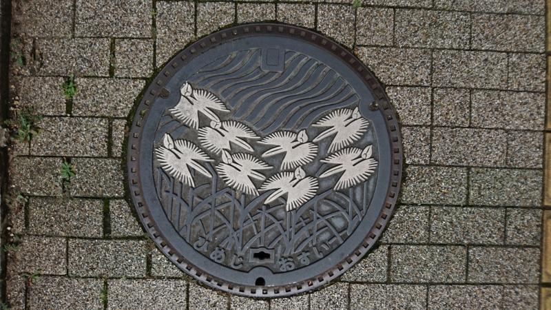 兵庫県姫路市のマンホール(サギソウ)[カラー白]