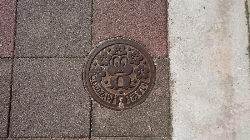 兵庫県西宮市のハンドホール(カエル、桜)