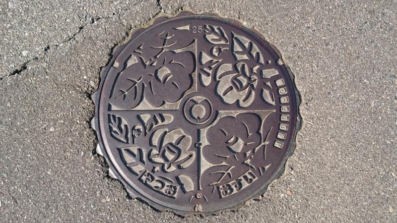 富山県富山市のマンホール(椿)