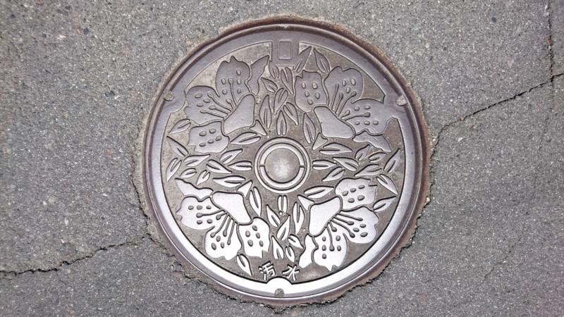 長野県岡谷市のマンホール(ツツジ)