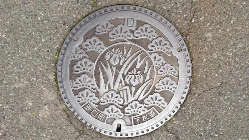 石川県能美市(旧辰口町)のマンホール(赤松、野花菖蒲)