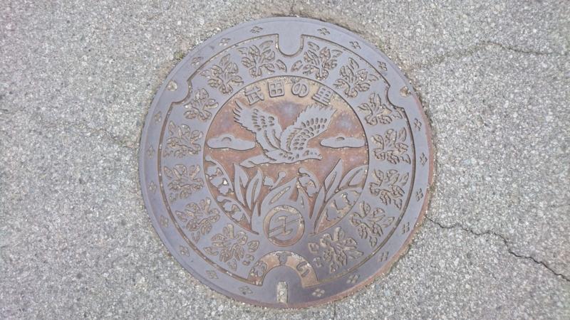 山梨県韮崎市のマンホール(チョウゲンボウ、レンゲツツジ、スズラン)