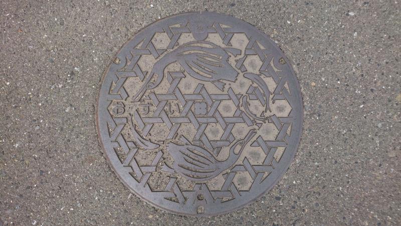 岐阜県岐阜市のマンホール(鮎、鵜)